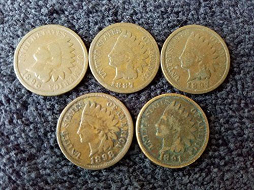 1880 thru 1899 Various Indian Head Pennies 5 Different Dates - in Gift Bag...
