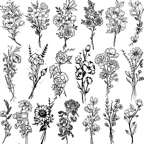 JOEHAPY 19 Sheets 3D Sexy Flower Temporary Tattoos For Women Neck Arm Girls...
