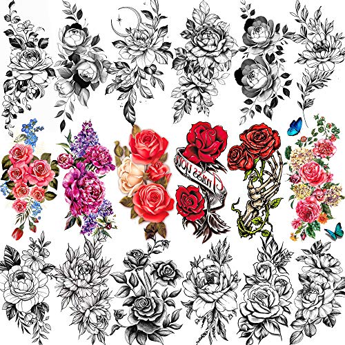 EGMBGM 18 Sheets 3D Rose Flower Temporary Tattoos For Women, Black Floral...
