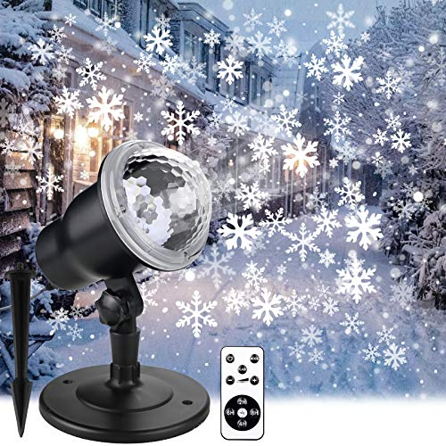 Christmas Projector Lights Outdoor, Holiday Snow Projector with Wireless...