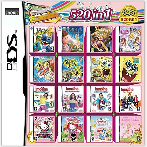 Antetek 520 in 1 Game Cartridge, DS Game Pack Card Compilations, Super...