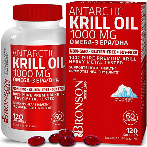 Bronson Antarctic Krill Oil 1000 mg with Omega-3s EPA, DHA, Astaxanthin and...