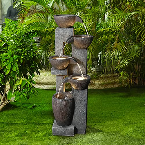 """Naturefalls 5-Tier Outdoor Water Fountains with LED Lights - 39""""H Floor..."""