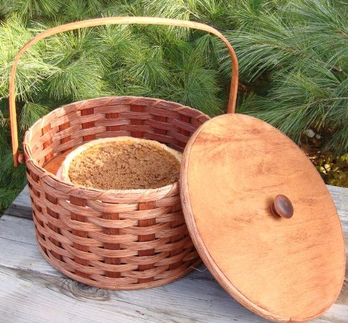 Round Double Pie Carrier Basket with Tray and Lid, 12' X 7'. An Ingenious...