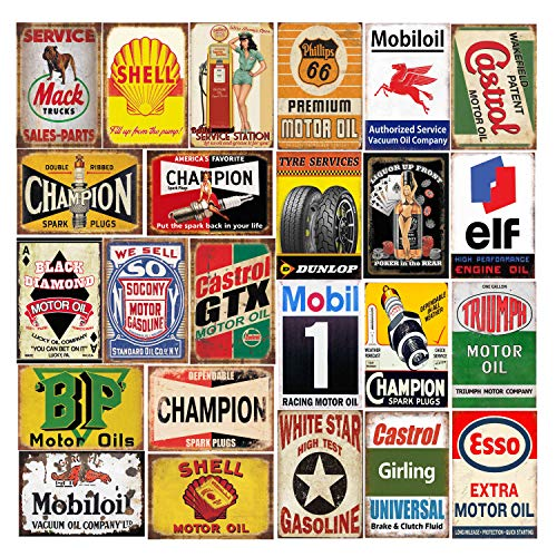26 Pieces Gas and Oil Tin Signs, Retro Vintage Metal Sign for Home Man Cave...