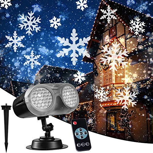 NUÜR Rotating Snowflake Christmas Projector Light with Wide Coverage &...