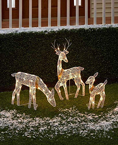 The Lakeside Collection 3-Pc. Lighted Deer Family - Outdoor Christmas,...