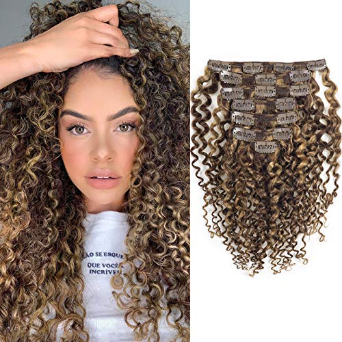 Caliee Curly Clip in Hair Extension 3B 3C Jerry Curly Full Head 20inch Real...