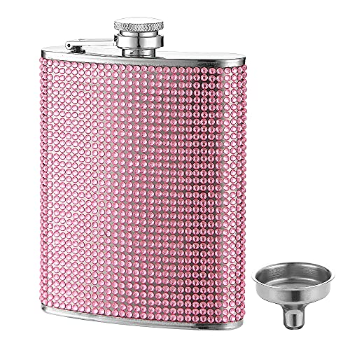 FYL Hip Flask for Liquor, Pink Glitter Flask 8oz with Never-Lose Cap
