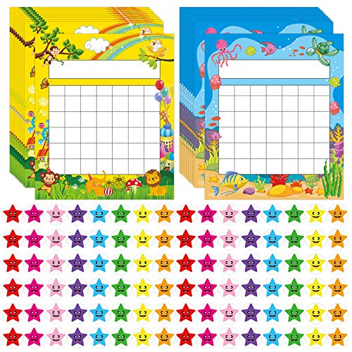 Pack of 66 Incentive Chart with 2080 Reward Star Stickers for Kids Students...