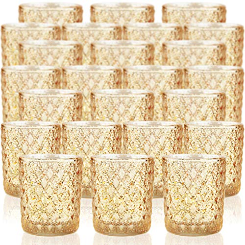 SHMILMH Gold Votive Candle Holders Set of 24, Mercury Glass Tealight Candle...