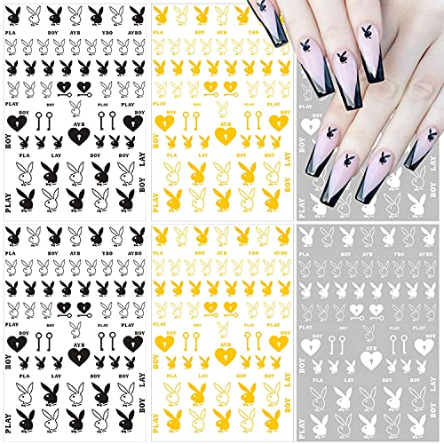 Nail Art Stickers Decal Nail Art Supplies 3D Heart Bunny Nail Decals for...