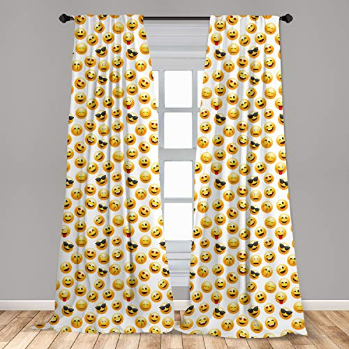 Ambesonne Emoji 2 Panel Curtain Set, Smiley Face Character Illustration...