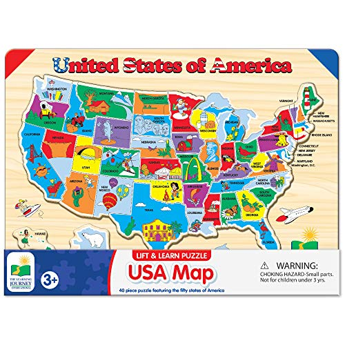 The Learning Journey Lift & Learn Puzzle - USA Map Puzzle for Kids -...