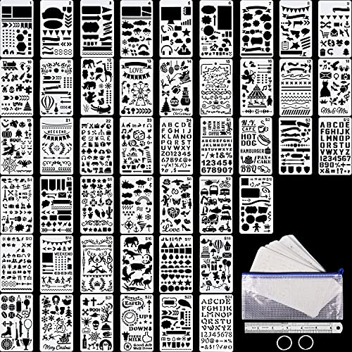 48 Pieces Journal Planner Stencils Plastic Bullet Stencil with A6 File Bag,...