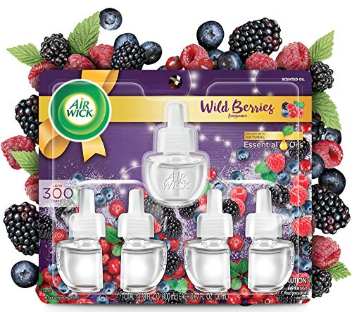 Air Wick Plug in Scented Oil 5 Refills, Wild Berries, Fall scent, Fall...