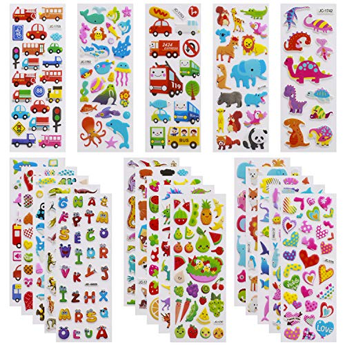 3D Stickers for Kids Toddlers 550+ Vivid Puffy Kids Stickers 24 Different...