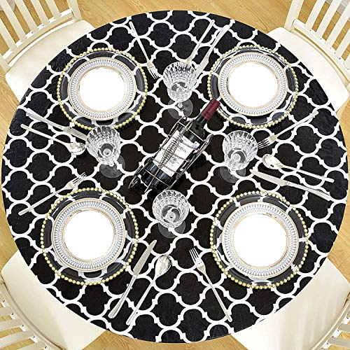 DecorMaster Round Fitted Vinyl Tablecloth with Flannel Backing Elastic Edge...