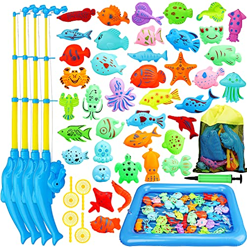 TOY Life Magnetic Fishing Game for Toddlers with 4 Toy Fishing Pole...