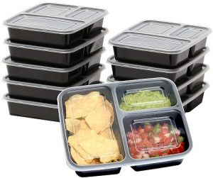 10 Pack – SimpleHouseware 3 Compartment Food Grade Meal Prep Storage Container