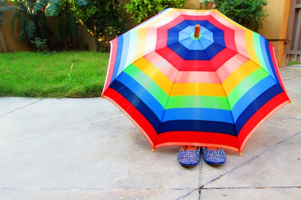 colorful umbrella on the floor