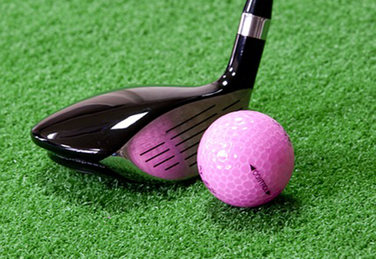 golf club with pink ball